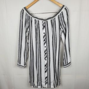 Womens Striped Off The Shoulders Tunic Top